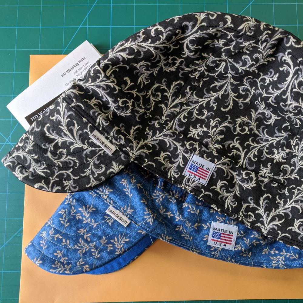 Blue Calico Welding Hat