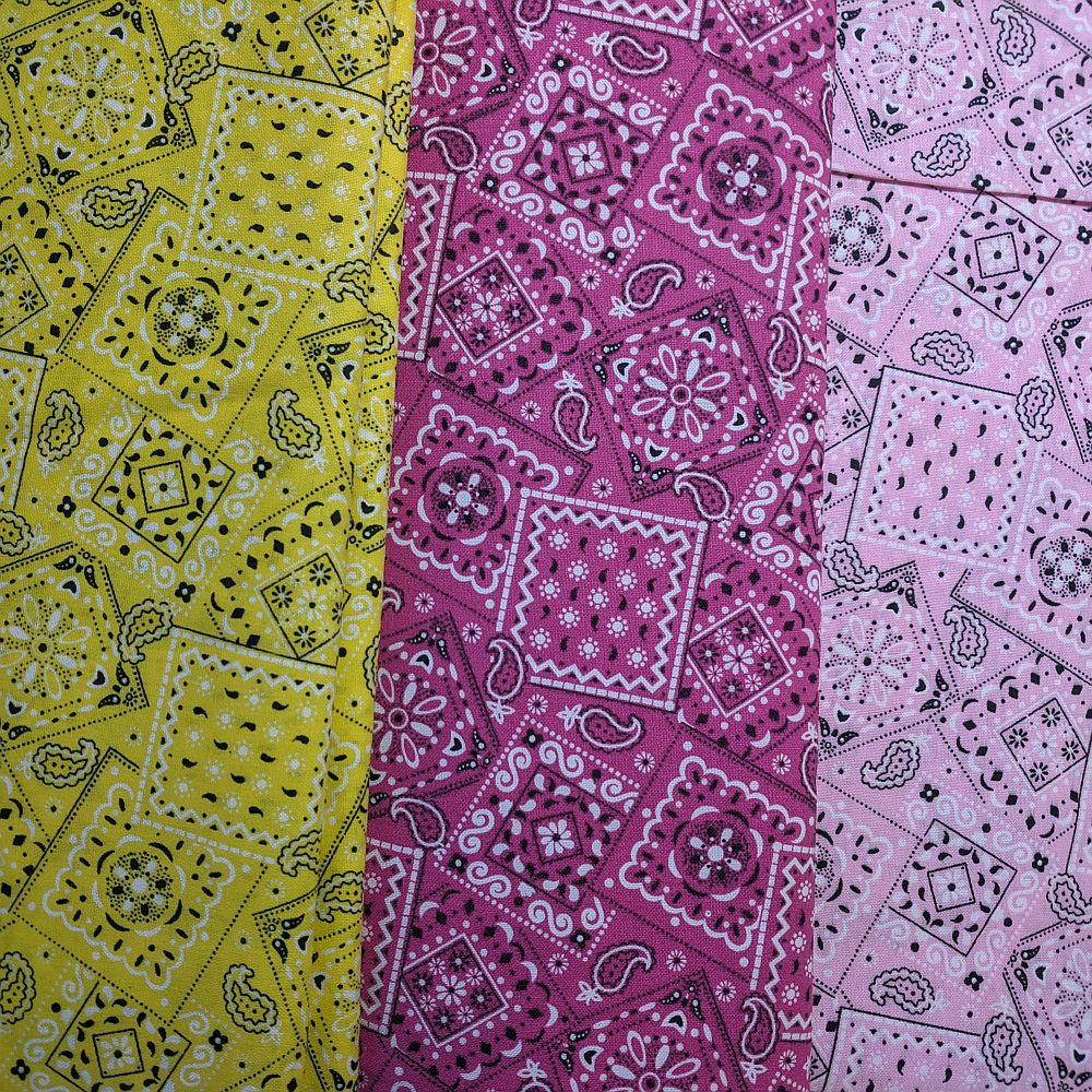 3 Bandanna Deal - Rose, Pink & Yellow