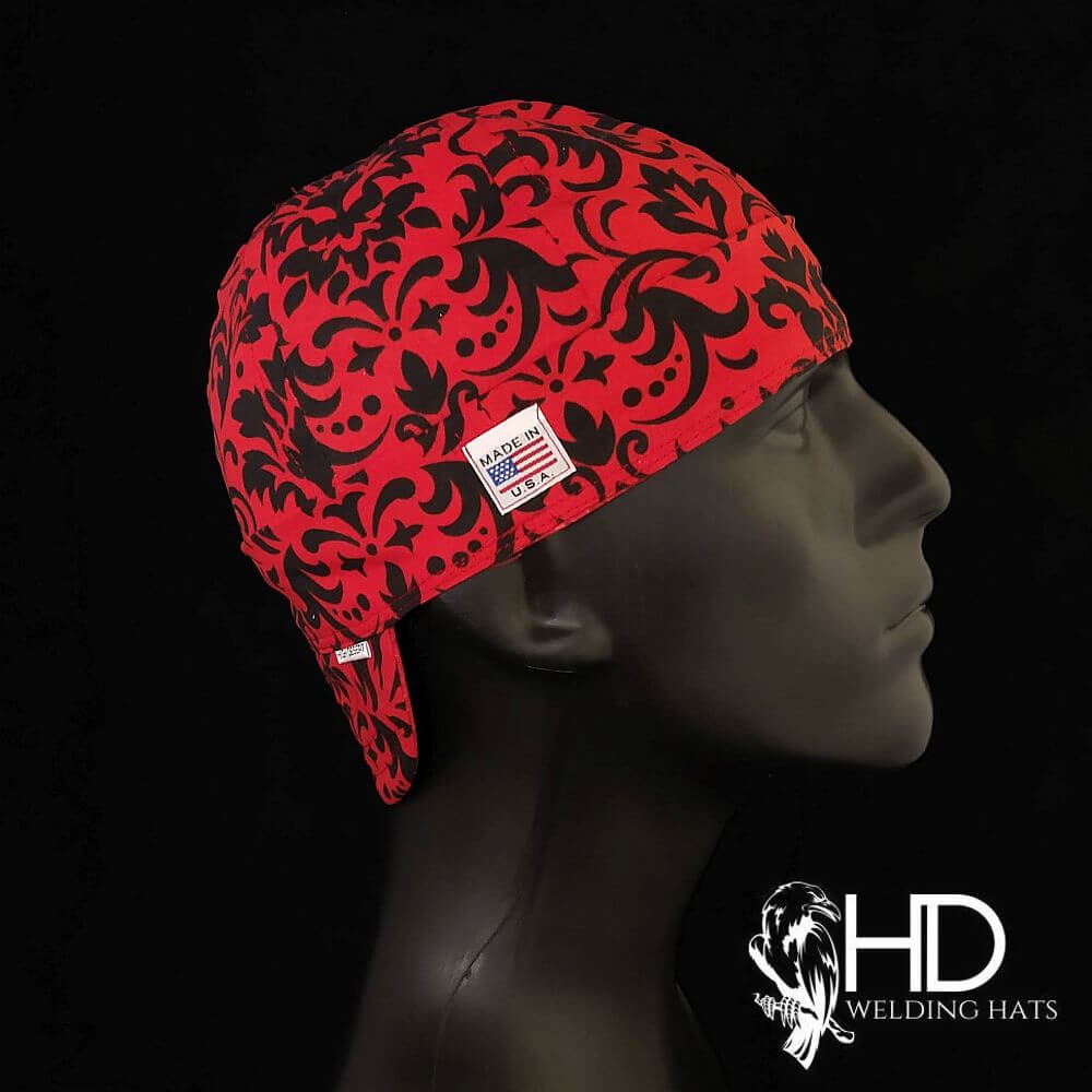 Bold Red & Black Damask Welding Hat