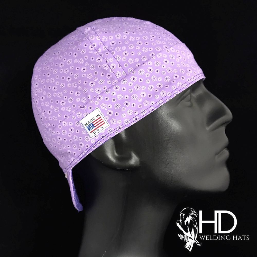 Purple Calico Welding Hat