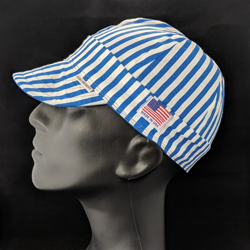 Blue & White Stripe Welding Hat