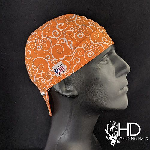 Orange Swirl Welding Hat