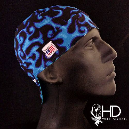 On Fire Black/Blue Welding Hat