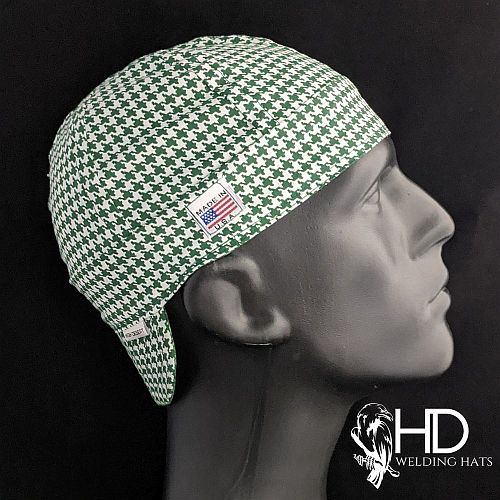 Green Houndstooth Welding Hat