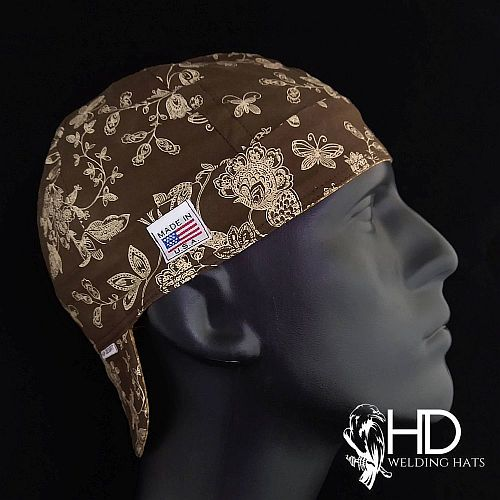 Brown Floral Welding Hat