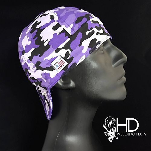 Purple Camo Welding Hat