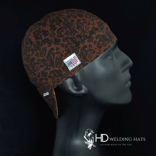 Brown & Black Damask Welding Hat