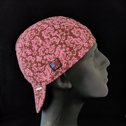 Brown & Pink Damask Welding Hat